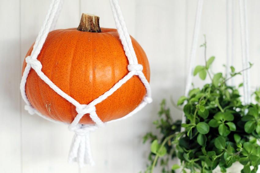 DIY macrame hanging pumpkin