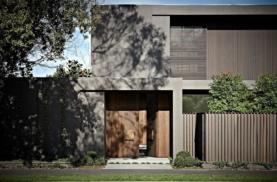 Dark modern exterior of the Bay House