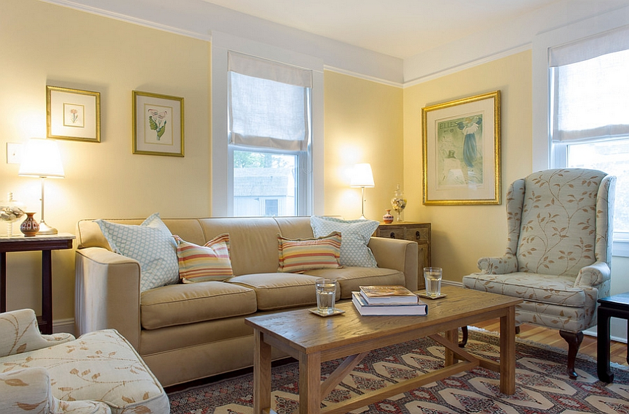 Delicate and soft honeyed yellow gives the room a charming, warm glow [By: Hammond Design]