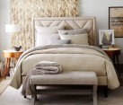 Diamond-pattern bedding in shades of cream