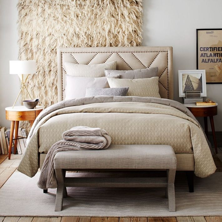 Diamond pattern bedding in shades of cream Trendy Modern Bedding Possibilities For Fall