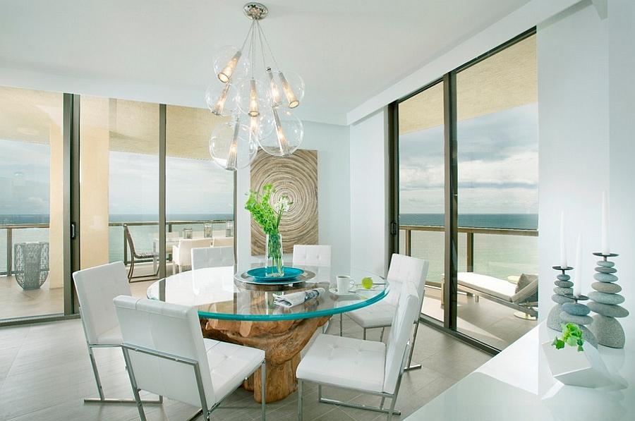 Dining room brings the outdoors inside with ease [Design: DKOR Interiors]
