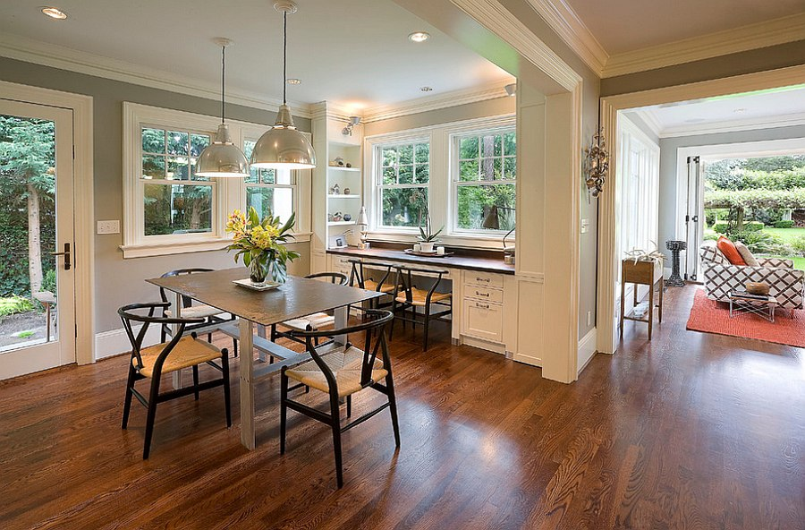 Dining room corner turned into smart home office   Design  Emerick  Architects. Dining Room Corner Decorating Ideas  Space Saving Solutions