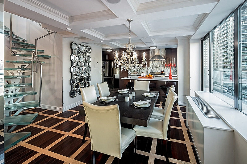 Dining space and kitchen of the revamped penthouse