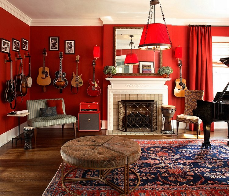 Dramatic living room that is all about music