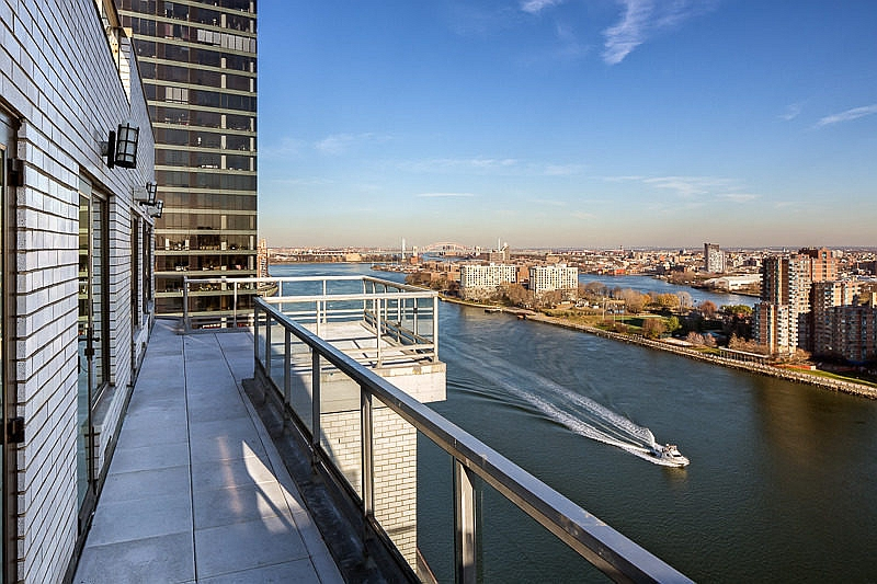 East River from the balcony of the penthouse