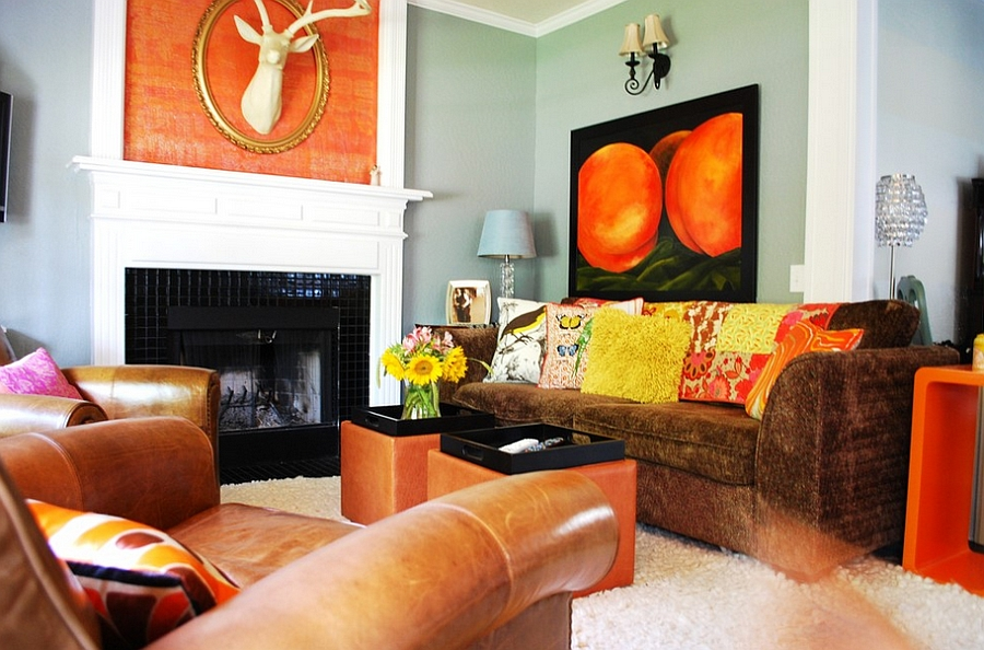... Eclectic living room in orange and black [Design: Judith Balis  Interiors]