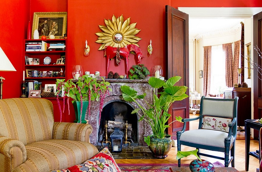 Eclectic living room with plenty of greenery [Photography: Rikki Snyder]