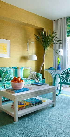 Eclectic living room with unique decor and gorgeous hues! [Design: Scott Sanders]