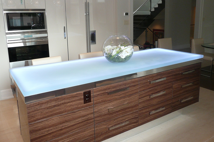 Elegant modern kitchen island with a durable glass countertop