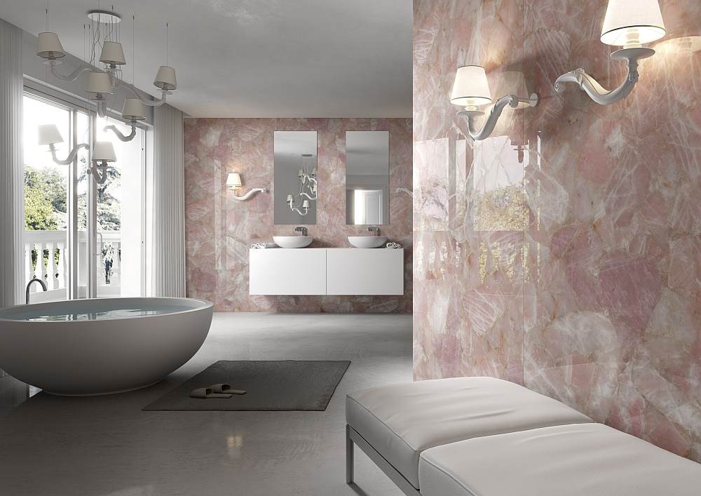 Enchanting rose quartz walls for the modern bath