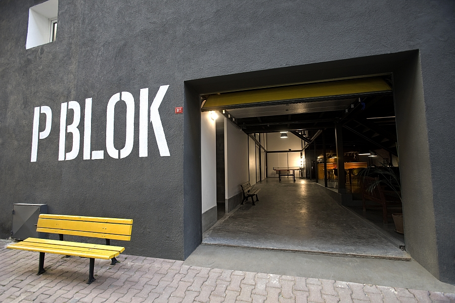 Entrance of the P Blok ProductionStudio in Istanbul Old Warehouses Make Stunning Office Spaces!