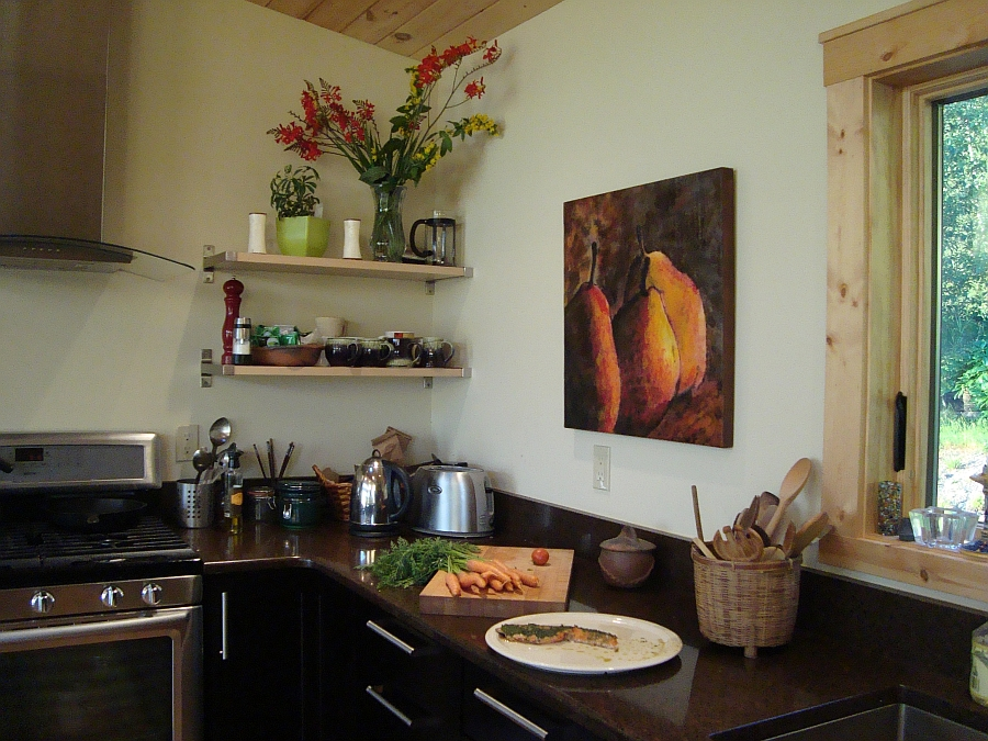 Exquisite Pears art work becomes the instant focal point of the kitchen