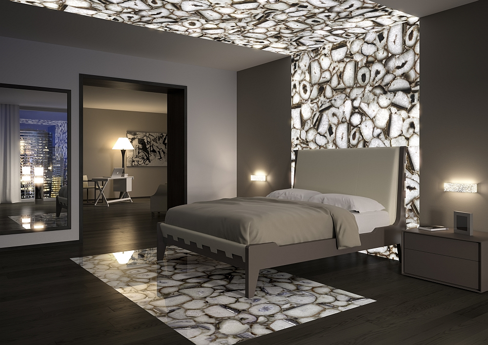 Exquisite modern bedroom with crystal agate accent addition Posh Precioustone Collection Brings Majestic Splendor Indoors!