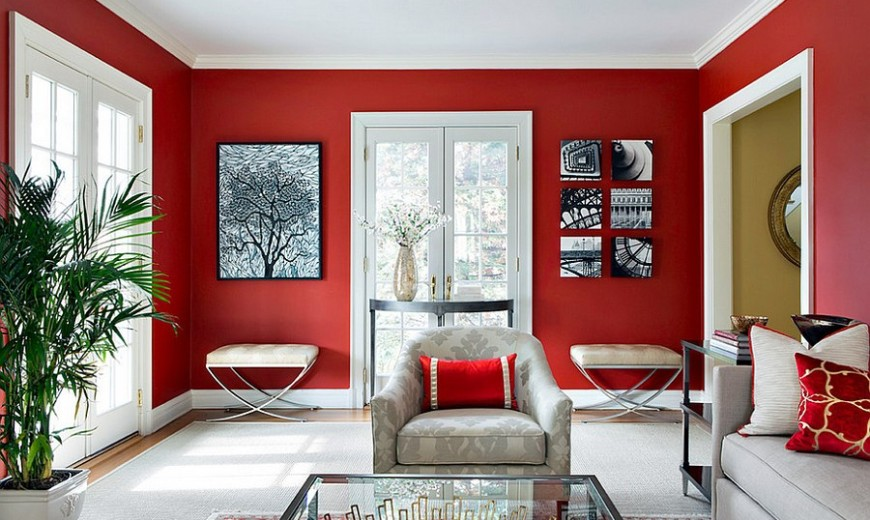 Red Living Rooms Design Ideas, Decorations, Photos Part 45