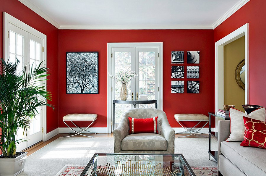 Exquisite way to use red in the living room