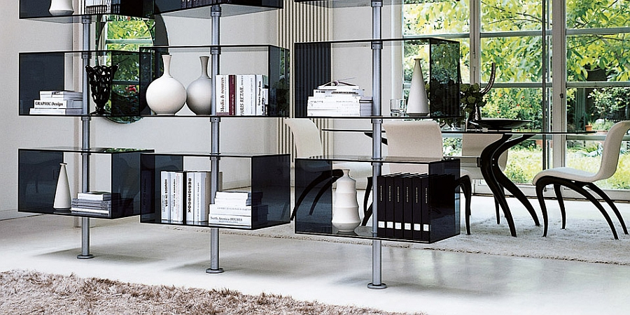 Fabulous contemporary wall unit with revolving glass containers