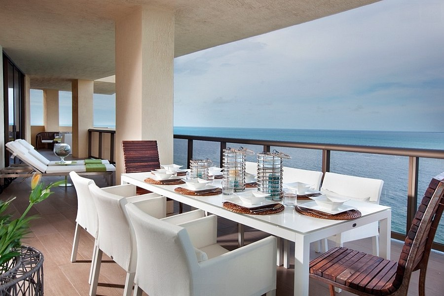 Fabulous outdoor dining space with ocean view [Design: DKOR Interiors]