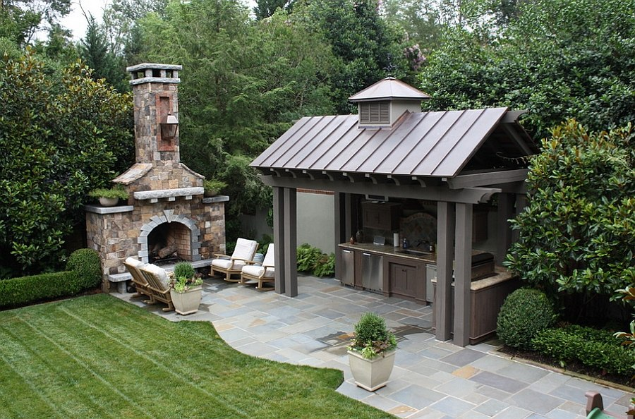 Fabulous outdoor setting complete with kitchen and fireplace