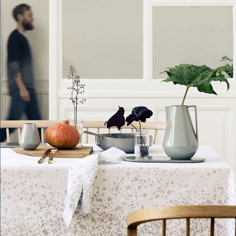 Fall produce on a grey and white table vignette