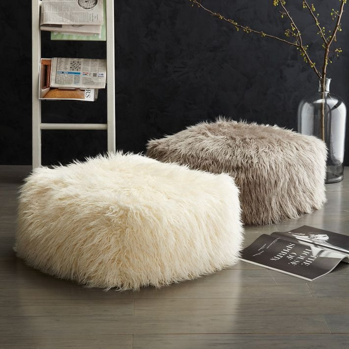 Faux wool poof from West Elm Transition Your Fall Decor to Winter with Metallic Flair