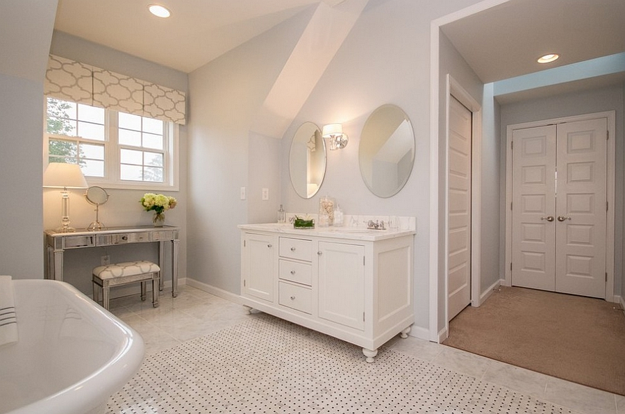Feminine bathroom in a simple, neutral shade [Design: Glenna Stone Interior Architecture]