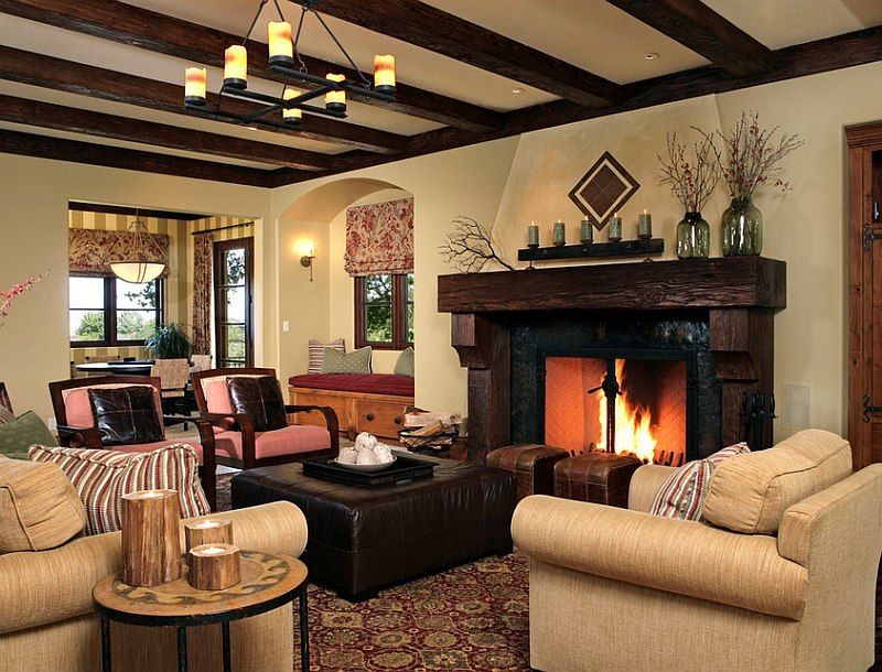 Fireplace is at the heart of this gorgeous rustic living room