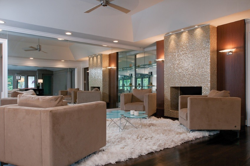 Fireplace with glass tile in a modern living room