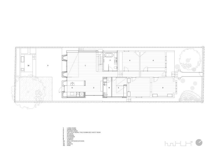 Floor plan of the lower level of the house