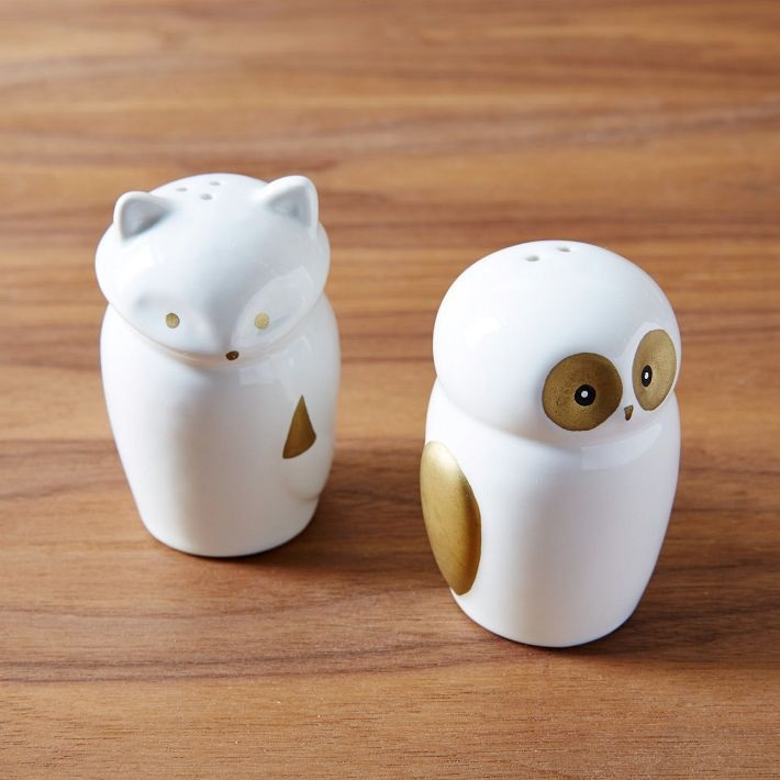 Fox and owl salt and pepper shakers