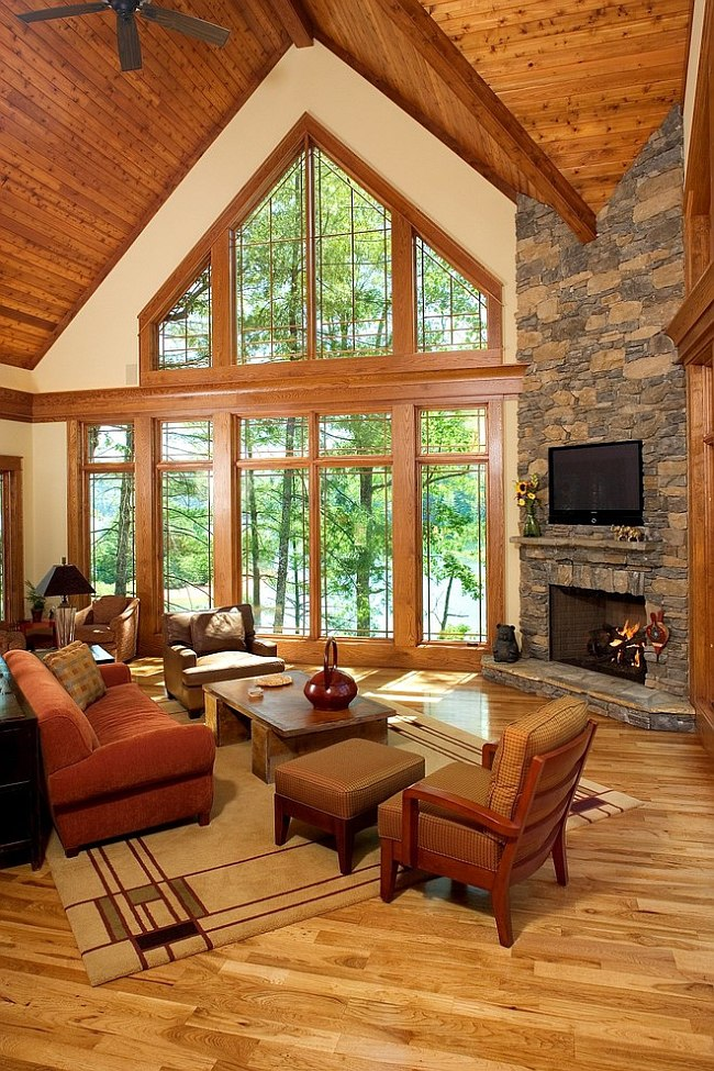 Framed views add to the natural vibe of the living room