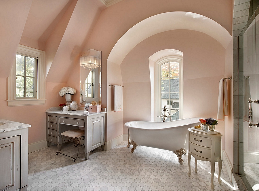 French country style bathroom uses a light pink shade [Design: Charles Vincent George Architects]