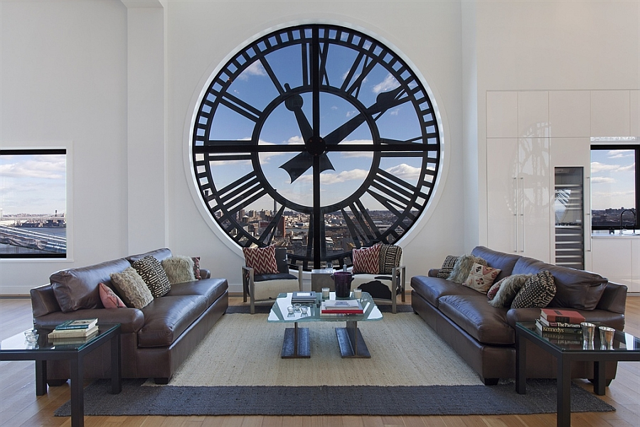 Giant clocks make a stunning backdrop in the living room