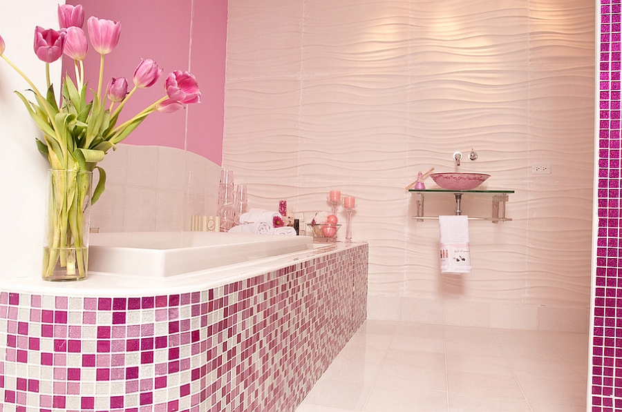 Girly modern bath that is all about purple and pink [Design: Susan Jablon Mosaics]