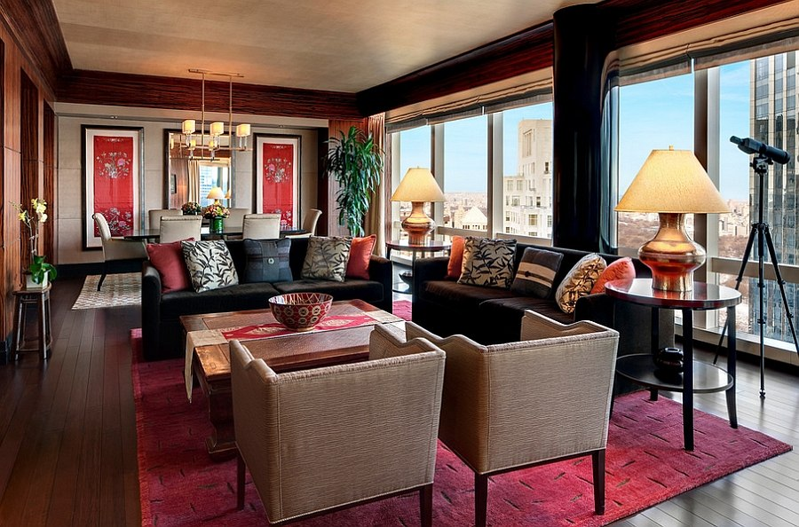 Give the living area a red tinge with the right carpet [From: Tufenkian Artisan Carpets]