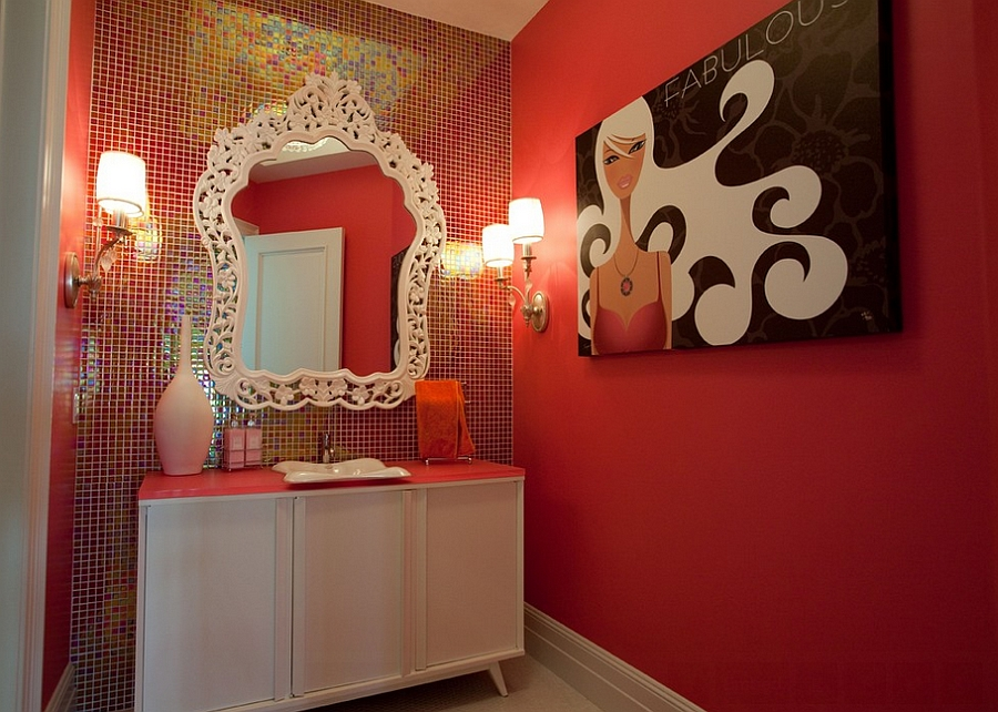 Glamorous bathroom with a hint of retro [Design: Cre8tive Interior Designs]