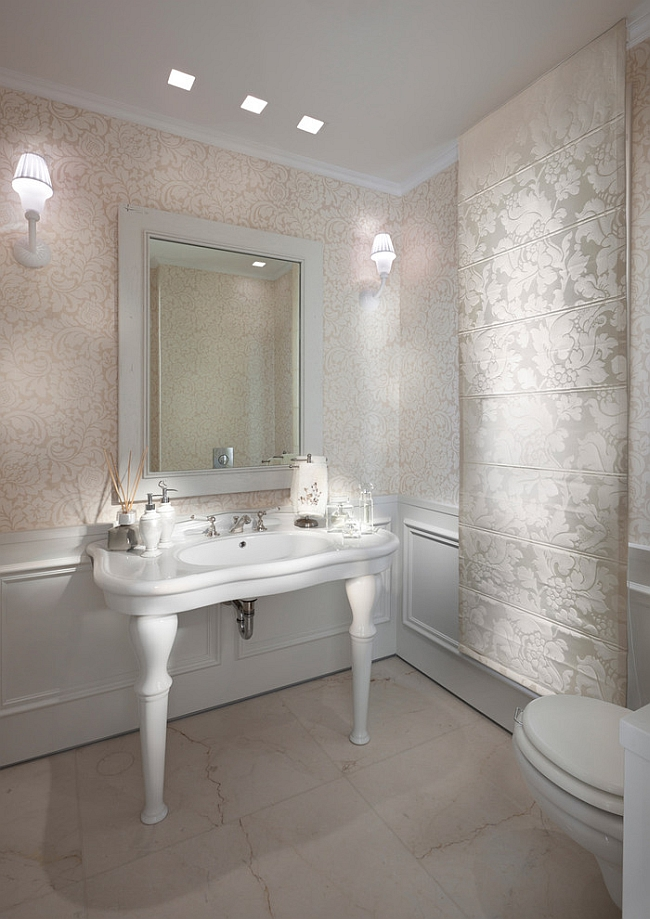 ... Chic glitz takes central stage in this trendy bathroom! [Photography:  Elad Gonen]