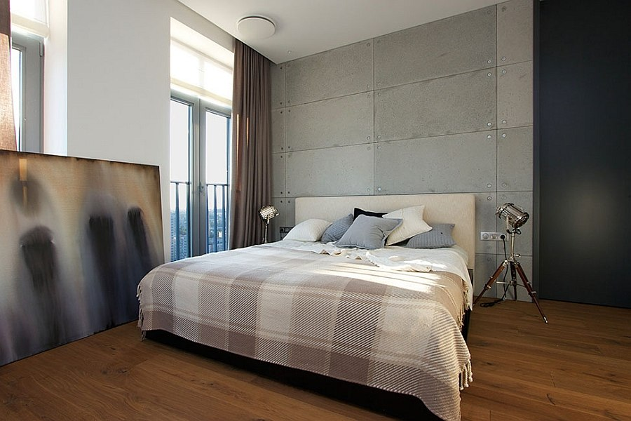 Goregous master bedroom with a dash of industrial charm