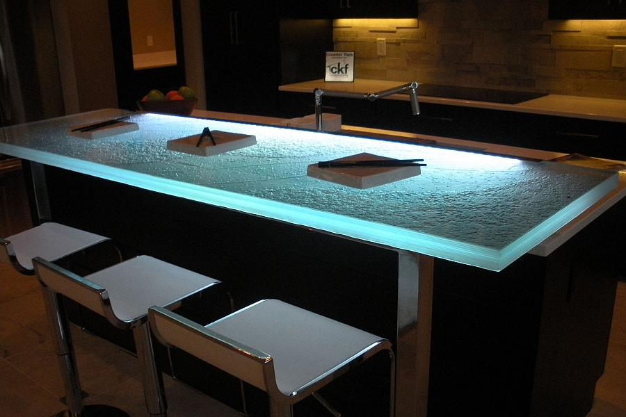 Gorgeous LED lighting adds a whole new dimension to your kitchen glass countertop