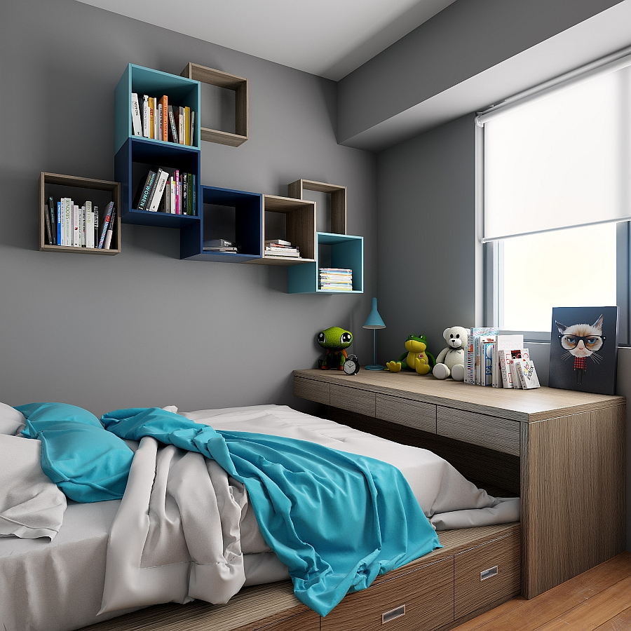 Gorgeous bedroom with chic modern style and smart storage units