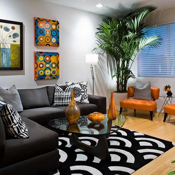 Sophisticated living room in white with black and orange - Orange and black room decor ...