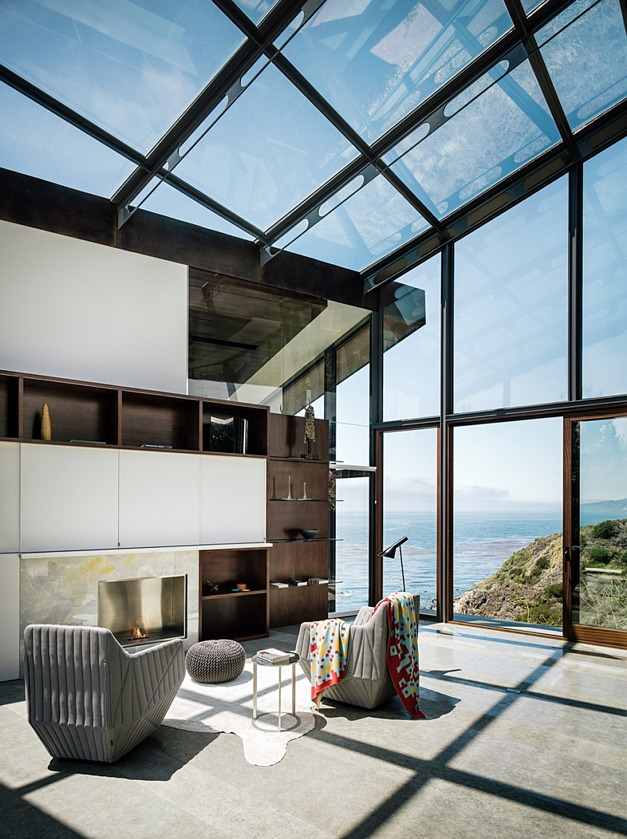 Gorgeous home library with large glass walls