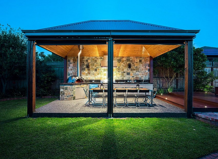 Gorgeous lighting takes over after sunset in this exclusive outdoor kitchen [Design: AKL Designer Kitchens]