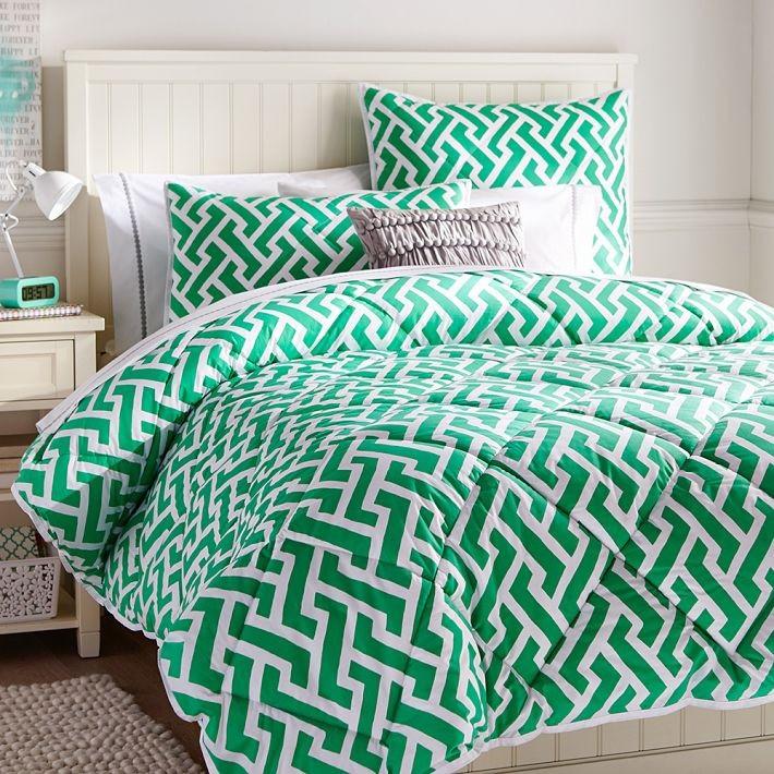 Green geometric comforter and sham