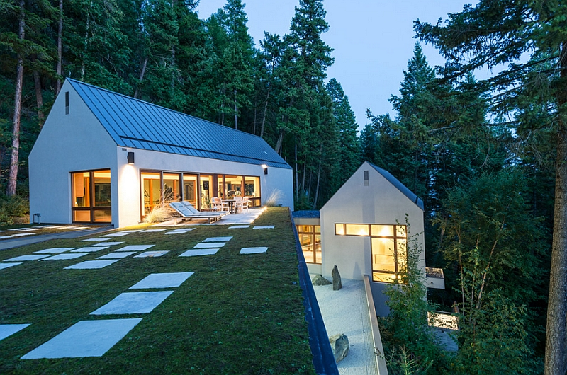 Green roof of the Pool House with unabated lake views 10 Amazing Lakeside Homes And Retreats