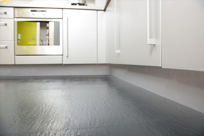 Grey rubber flooring in the kitchen