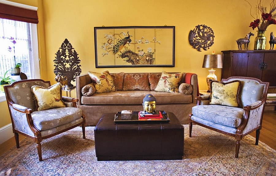 Hint of warm golden charm for your living room [Design: Adeeni Design Group]