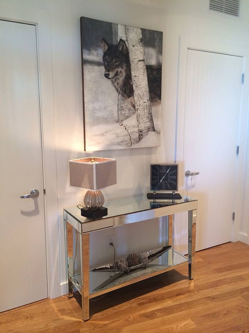 Home in Portland with the wolf Photo-Encaustic creation