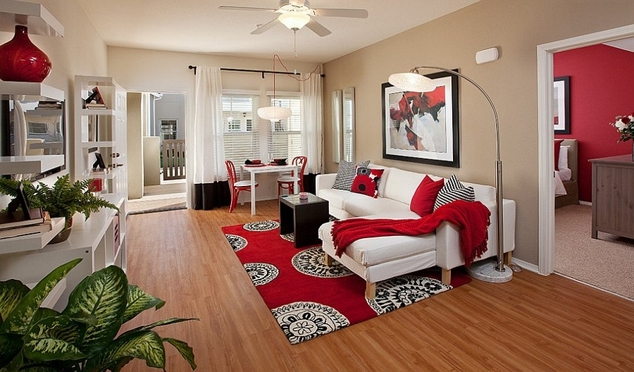 infuse red in a trendy fashion with smart accents design borden interiors associates - Interior Designer Ideas For Living Rooms