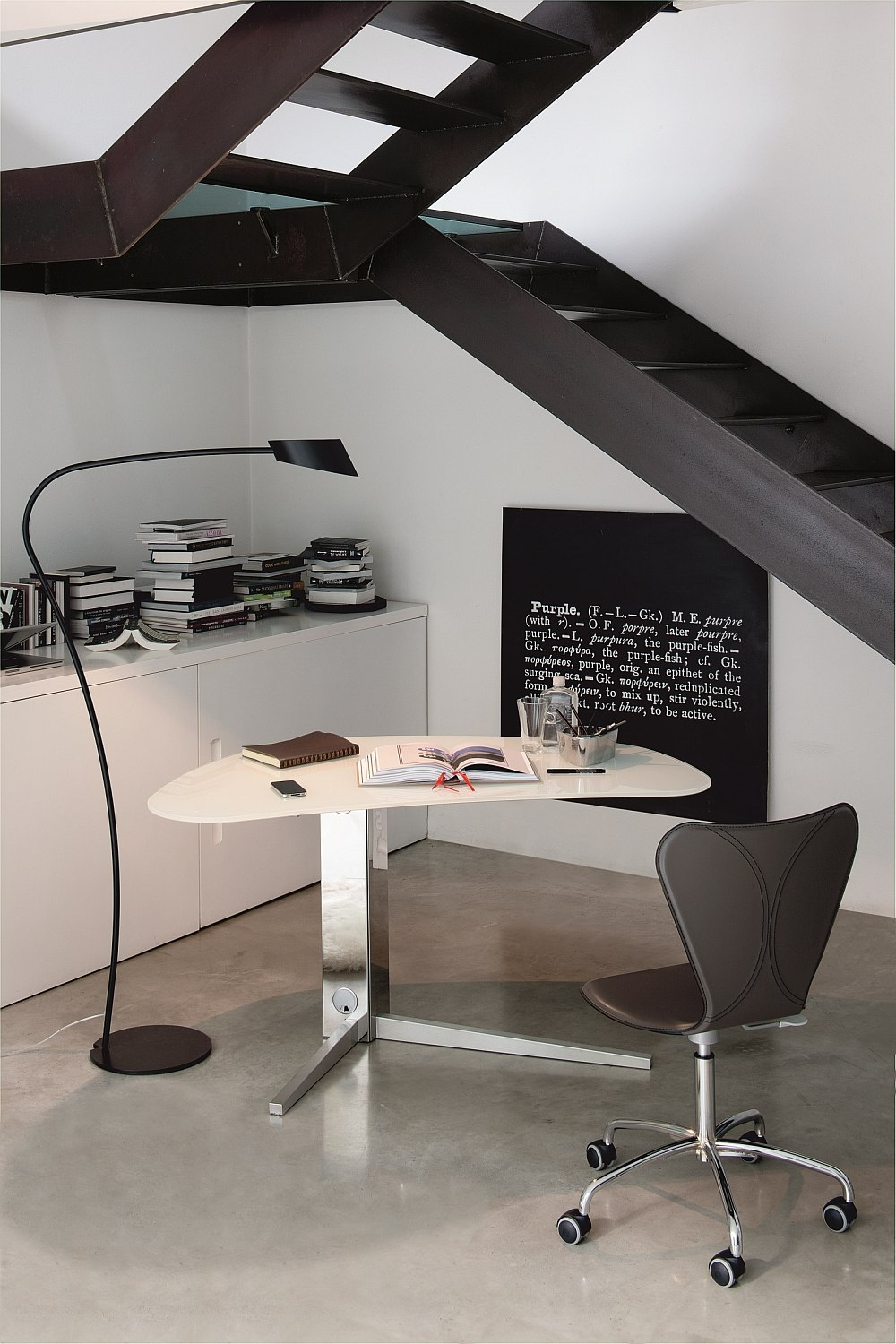 Ingenious modern desk with stainless steel base
